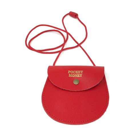 Pocket money red leather purse