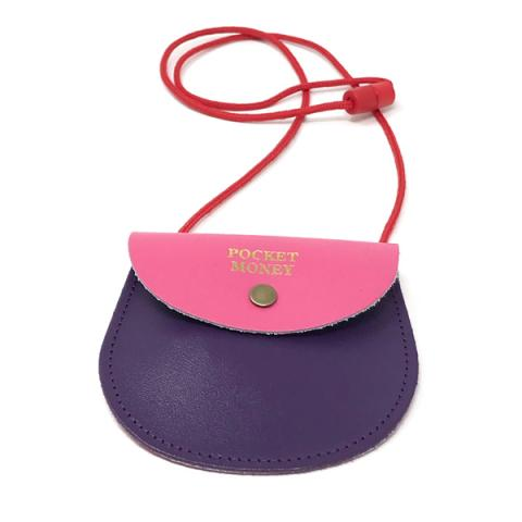 Pocket money two colour pink and purple leather purse