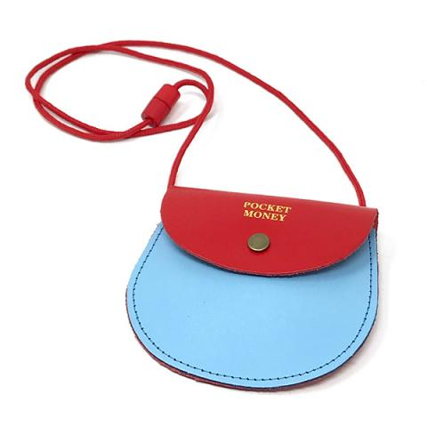 Pocket money two colour red and blue leather purse