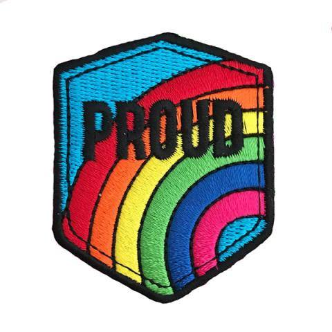 Proud rainbow embroidered patch