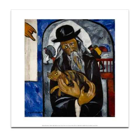 Rabbi with Cat by Natalia Goncharova art print