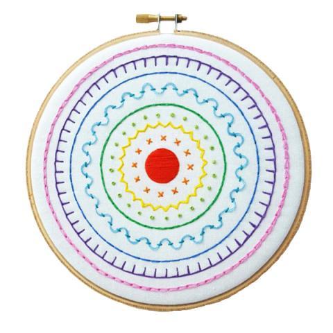 Rainbow sampler hand embroidery kit
