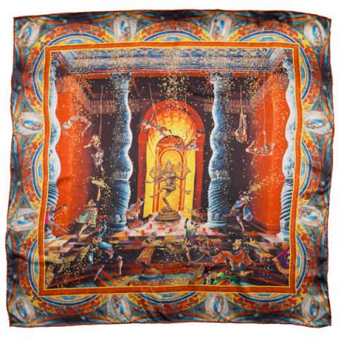 The Purification of the Temple (after Marcello Venusti) II by Raqib Shaw silk scarf