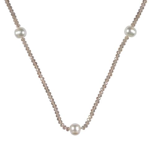 The Real Pearl Champagne Crystal Necklace