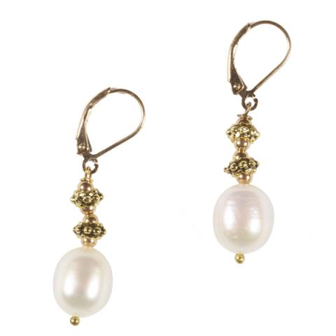 White drop pearl with brass bead earrings