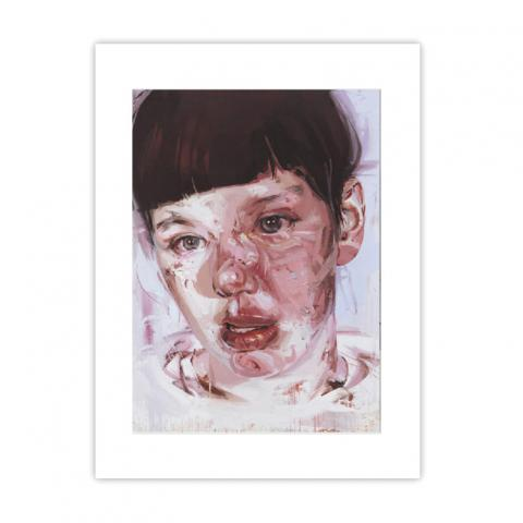 Red Stare Head IV by Jenny Saville large mounted postcard