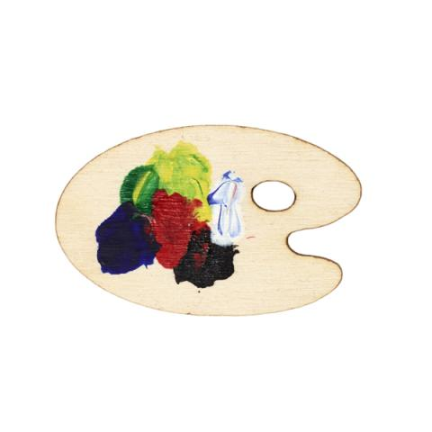 Reine d'Amour Wooden Hand-painted Palette Brooch