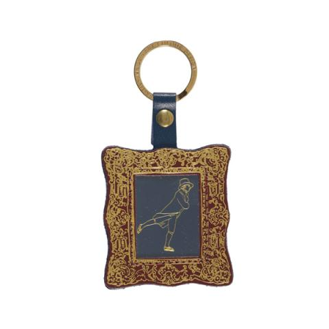 Reverend Walker by Sir Henry Raeburn genuine leather brown and gold picture frame keyring