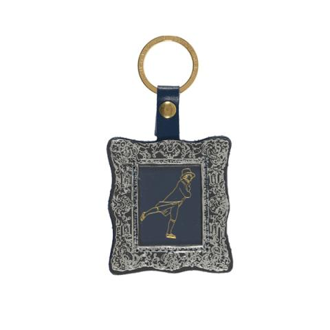 Reverend Walker by Sir Henry Raeburn genuine leather grey and silver picture frame keyring