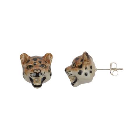 Roaring leopard porcelain earrings