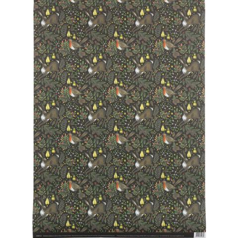 Robin and rabbit woodland garden gift wrap (single sheet)
