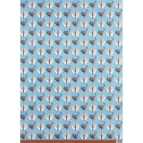 Robin modern woodland gift wrap (single sheet)