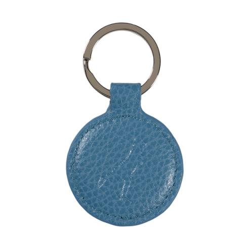 Leather Round Keyring Turquoise