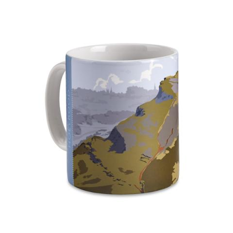 Salisbury Crags, Holyrood graphic ceramic mug