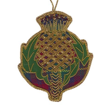 Scottish thistle beaded tartan fabric decoration