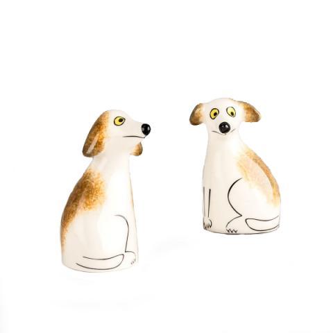 Scruffy dog ceramic salt and pepper shaker set