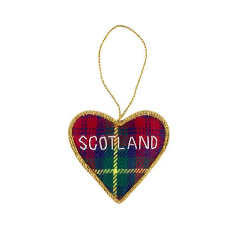 Tartan Scotland Heart Christmas Decoration