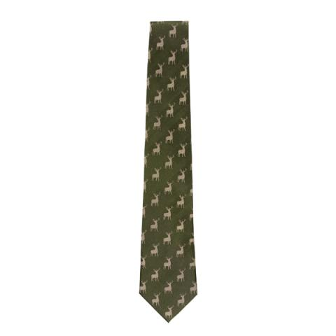 Stag Pattern Green Woven Silk Tie