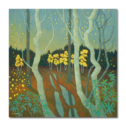 A shower of gold as winter creeps into the forest greeting card