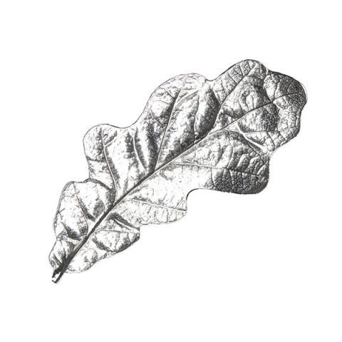 Silver pewter oak leaf handmade brooch
