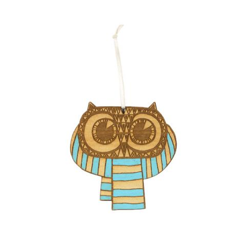 Owl with blue scarf wooden Christmas decoration