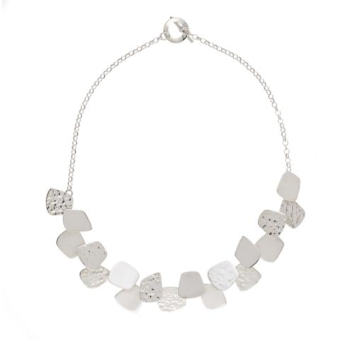 Square shapes silver necklace