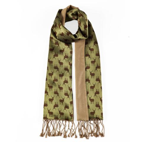 Stag Pattern Men Silk Scarf