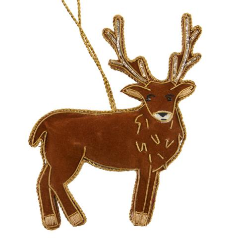 Stag fabric beaded Christmas decoration