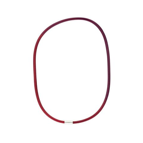 Sterling silver and hand dyed red single loop elastic necklace