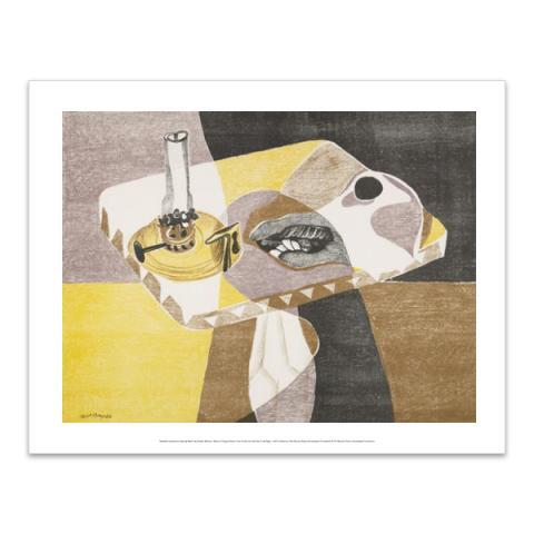 Still Life with Oil Lamp by Robert MacBryde art print