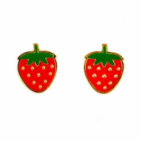 Acorn & Will Strawberry Enamel Earrings