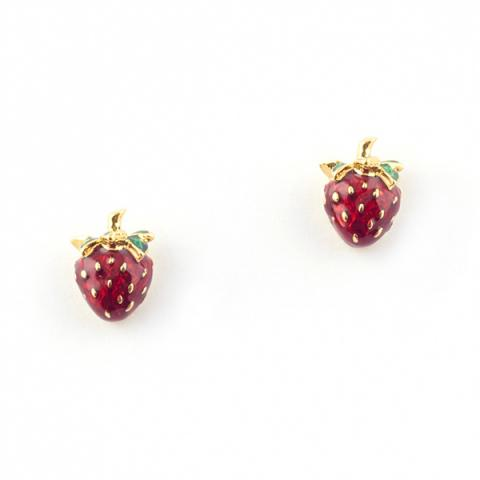 Summer strawberry stud earrings