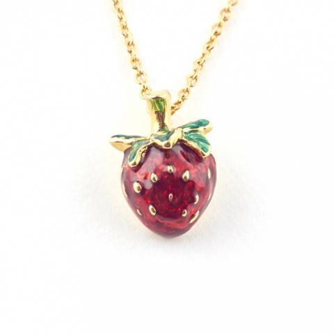 Summer strawberry mini pendant necklace
