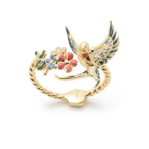 Hand painted enamel swallow open ring
