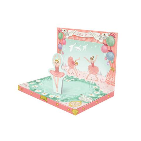 Swan lake ballerina music box greeting card