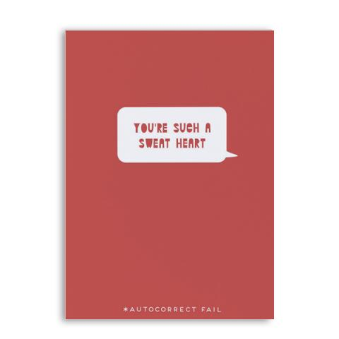 'You're a Sweat Heart' text fail Valentine's greetings card