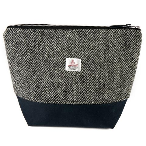 Clare O'Neill Tall Washbag Dark Grey Harris Tweed