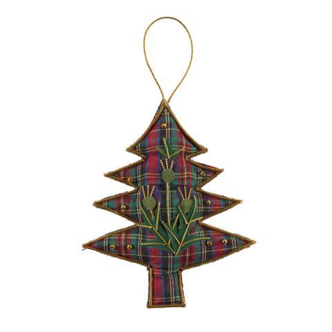 Tartan tree beaded fabric Christmas decoration