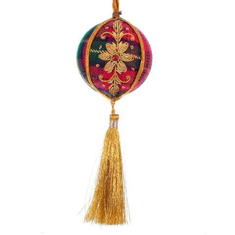 Tartan ball and tassle fabric decoration