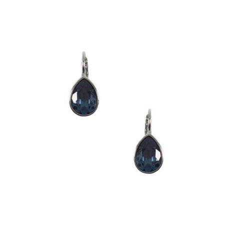 Teardrop dark blue crystal earrings