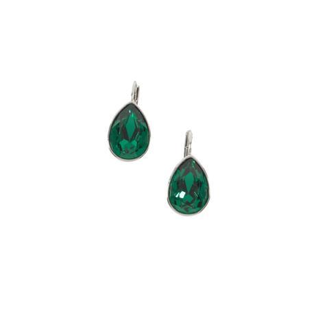 Teardrop green crystal earrings