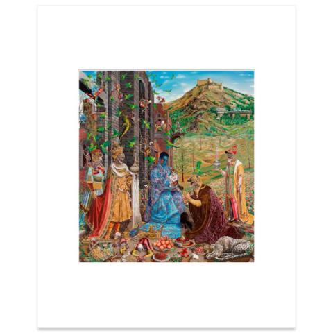 The Adoration (after Jan Gossaert) by Raqib Shaw mounted art print