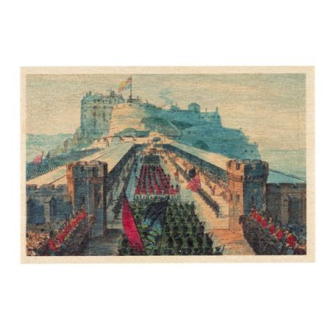 The Procession at the Castle Esplanade during George IV's visit to Edinburgh 1822 by William Home Lizars wooden postcard