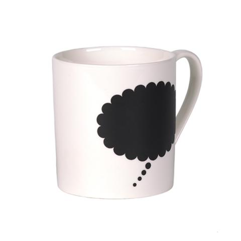 Thought with pencils thought bubble chalk paint ceramic mug