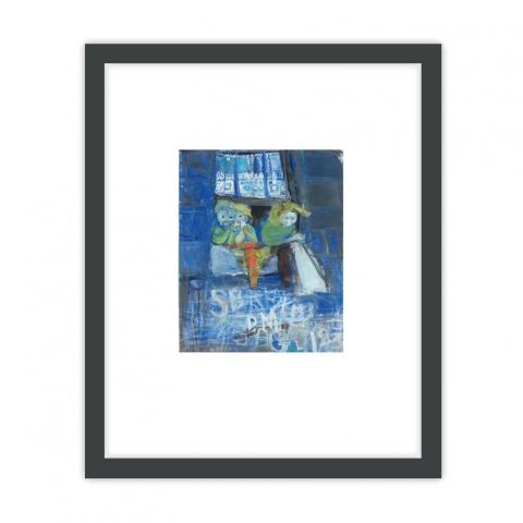 Three children at a tenement window by Joan Eardley ready to hang framed print