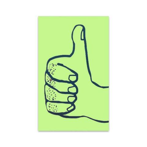 Thumbs up green mini greeting card