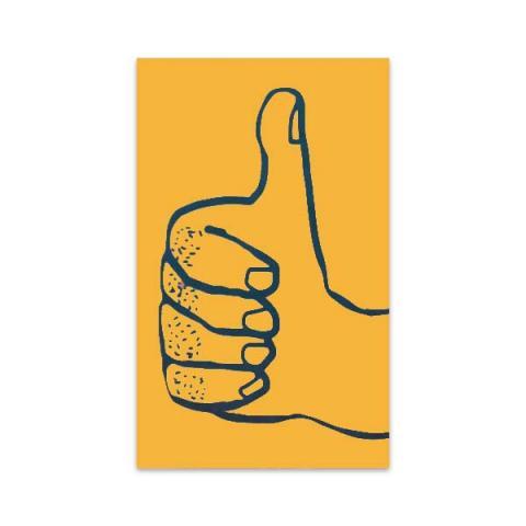 Thumbs up orange mini greeting card