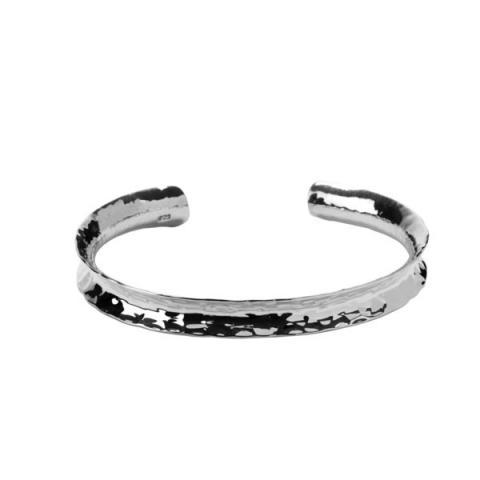Concave hammered silver bracelet