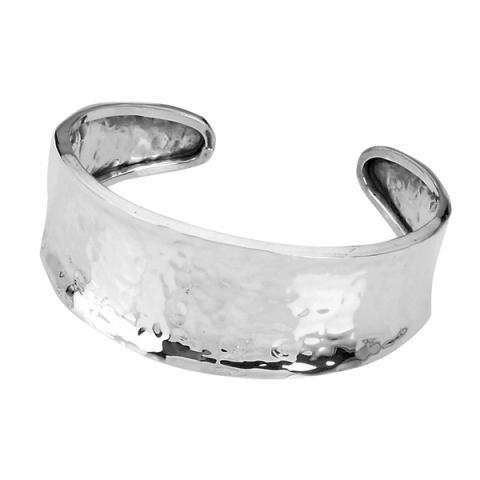 Hammered silver 3/4 bracelet