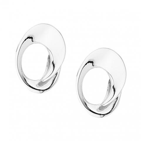 Open oval silver stud earrings